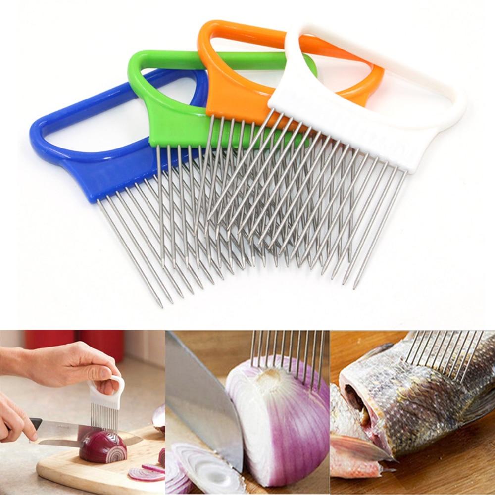 1 utensilio de cocina, portacuchillas de cebolla, tomate patata, rebanador de seguridad, soporte de ayuda de corte, guía, cortador, herramientas de cocina de seguridad