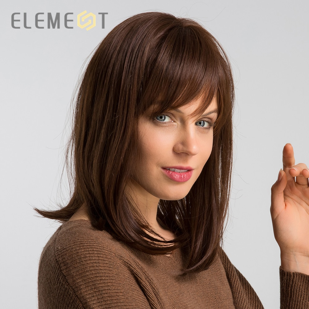 """Element 14"""" Synthetic Straight Wig with Bangs Blend 50% Human Hair Brown Color Fashion Cosplay Party Wig for Women Free Shipping"""