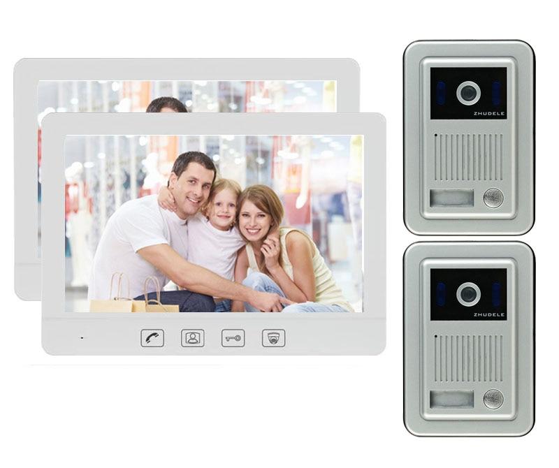 "ZHUDELE Home Video puerta intercomunicador timbre de casa Sistema de Seguridad puerta altavoz llamada Panel 10,1 ""Monitor + 700TVL CCD Cámara 2V2"