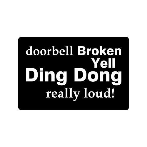 Bmall graciosas y divertidas frases y frases timbre de puerta Grill Ding Dong realmente ruidoso interior/tapete para piso exterior felpudo