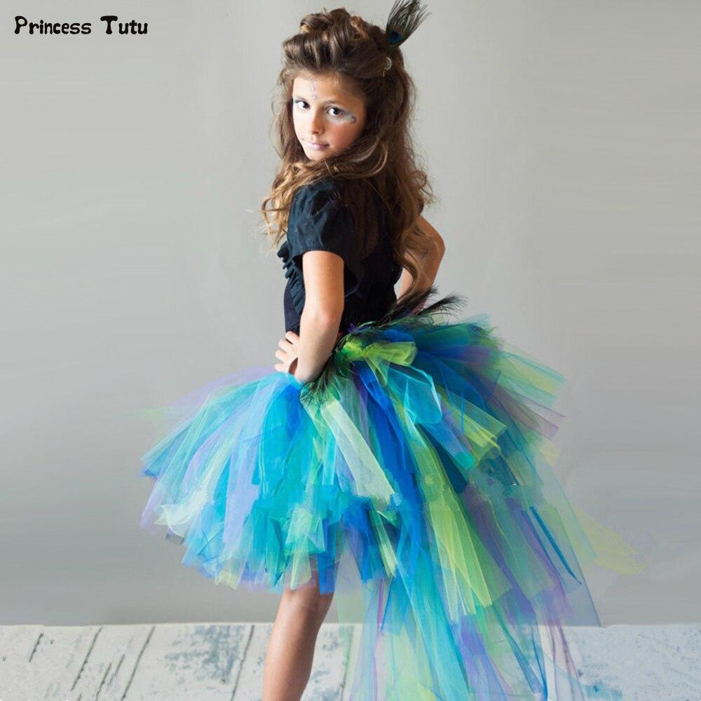 Falda tutú de tul con plumas de pavo real para niñas tutú para bebés y niñas faldas mullidas para niñas traje de fiesta de Halloween 1-14Y