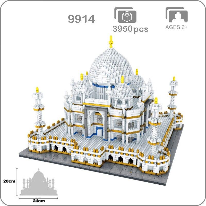 2019 arquitectura de fama mundial India Taj Mahal Palacio 3D modelo diamante Mini DIY Micro bloques de construcción Nano bloques de juguete colección