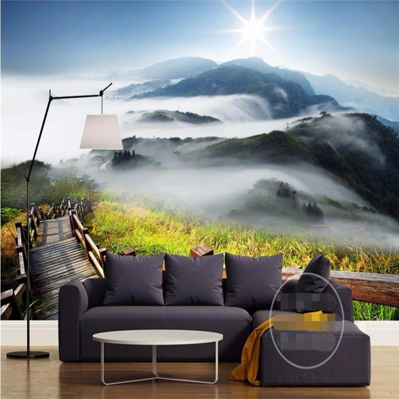 3d обои на заказ, 3d Объемные обои на стену, роскошное качество, планка, дорога, облака, горы, Солнечный свет