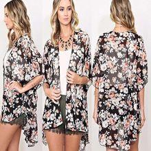 2018 Sexy Women Flower Blouses Summer Kimono Cardigan Maxi Shirts Half Sleeve Summer Sunsuits Outfits