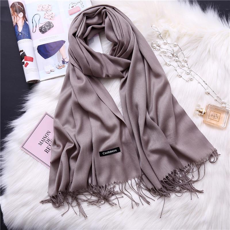 2020 frauen schal feste cashmere schals dame schals und wraps winter kopf schal pashmina lange größe foulard hijab großhandel