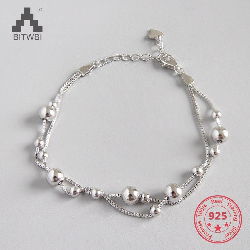 100% 925 Sterling Silver Bracelets Women's Jewelry Double Layer Beads Bracelet For Gift Girls Lady Drop Shipping