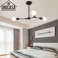 Modern Industrial Bar Ceiling Lamp Multiple Rod Wrought Iron Lighting E27 LED Living Room Vintage Pendant Lights Art decorate