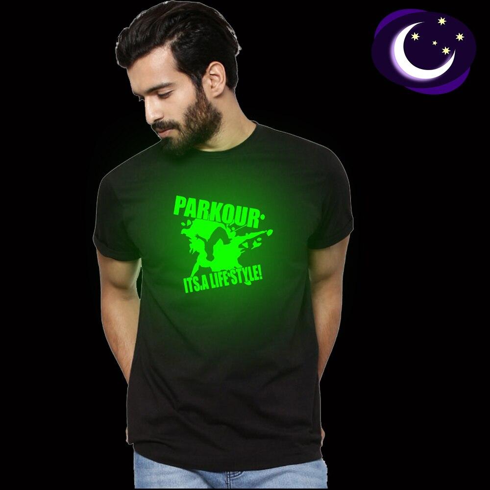Летняя флуоресцентная футболка Parkour Its A Lifestyle мужская повседневная светящаяся Повседневная футболка с буквенным принтом мужская светящаяся Темная футболка