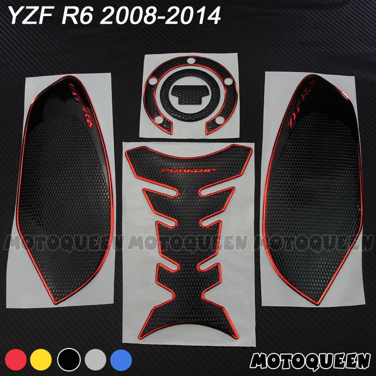 3d-накладка на бак мотоцикла, декоративные наклейки, наклейки на газовое топливо, наколенник, Тяговая сторона для YAMAHA YZF R6 YZF600 2008-2014