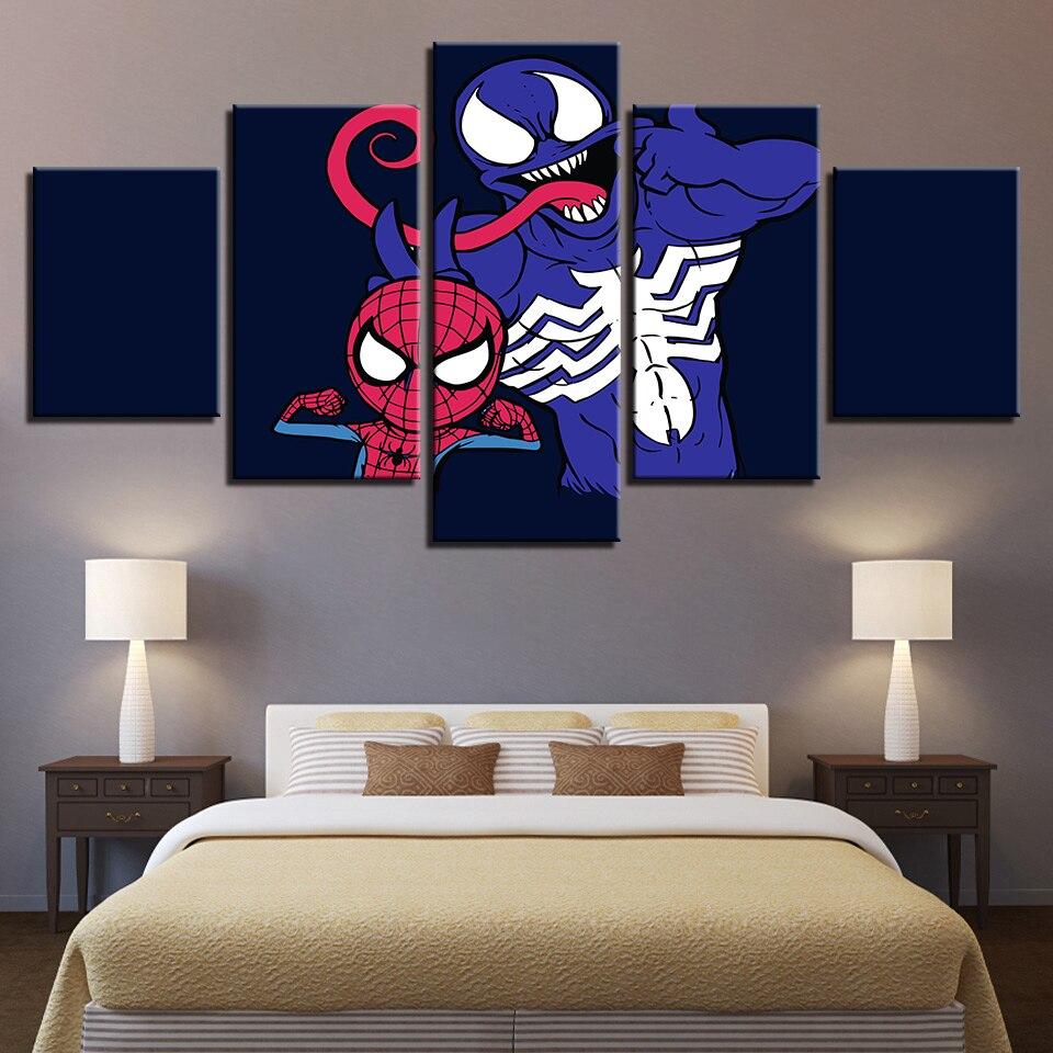 5 piezas impresión lienzo arte Venom Spider-Man película dibujos animados póster decoración moderna pinturas en lienzo arte de pared para casa decoración de arte