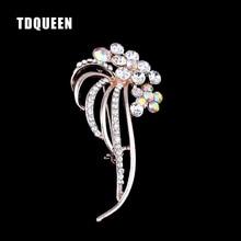 TDQUEEN w stylu Vintage broszki Rhinestone kryształ duży szalik z kwiatami szpilki moda kobiety ubrania wybiera Wedding Party biżuteria pin broszki