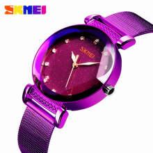 SKMEI модные повседневные женские часы с кристаллами и бриллиантами, Кварцевые женские наручные часы из нержавеющей стали, наручные часы фиол...