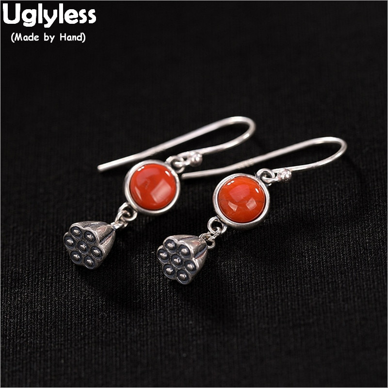 Pendientes de loto Plata de Ley 925 100% auténtica sin Uglyless para mujeres joyería de ágata fina de plata tailandesa pendientes rojos de Coral pendientes étnicos Brincos