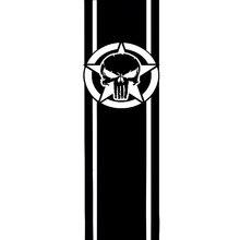 7.7cm * 25cm 스타 줄무늬와 해골 패션 비닐 데칼 오토바이 자동차 스티커 블랙/실버 S6-3641