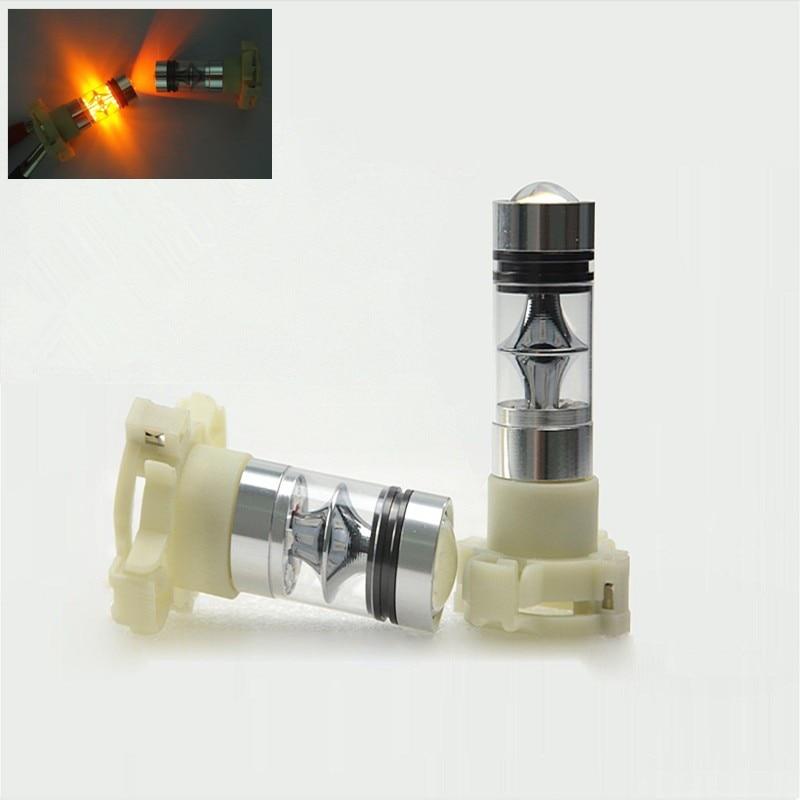 2 pièces ambre/Orange PY24W CREE puces Plasma projecteur LED ampoule 75W pas derreur voiture clignotant DRL clignotant éclairage