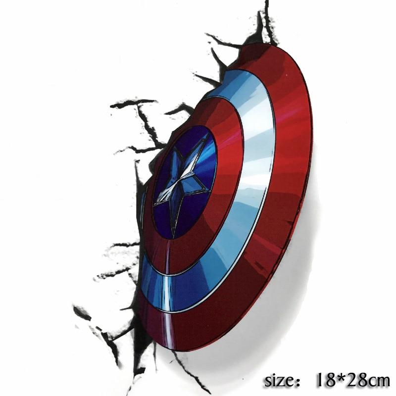 Nuevas pegatinas 3D Capitán América de Marvel escudo coche Laptop Tabla de Skate de nevera pegatina