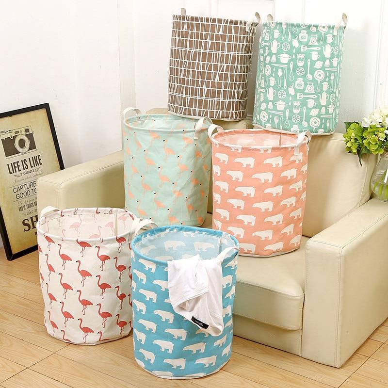 Flamingo Storage Basket Laundry Basket Organization Folding Toy Desk Cotton Linen with Handle Dirty Clothes Sundries Organizer