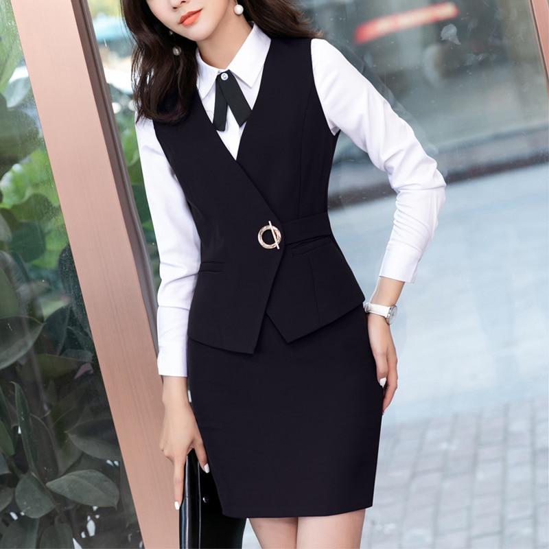 2 قطعة مجموعة سيدات الأعمال الدعاوى مع سترة + تنورة و الأعلى مجموعات الأسود شيال صدرية السيدات مكتب تصاميم موحدة زائد حجم