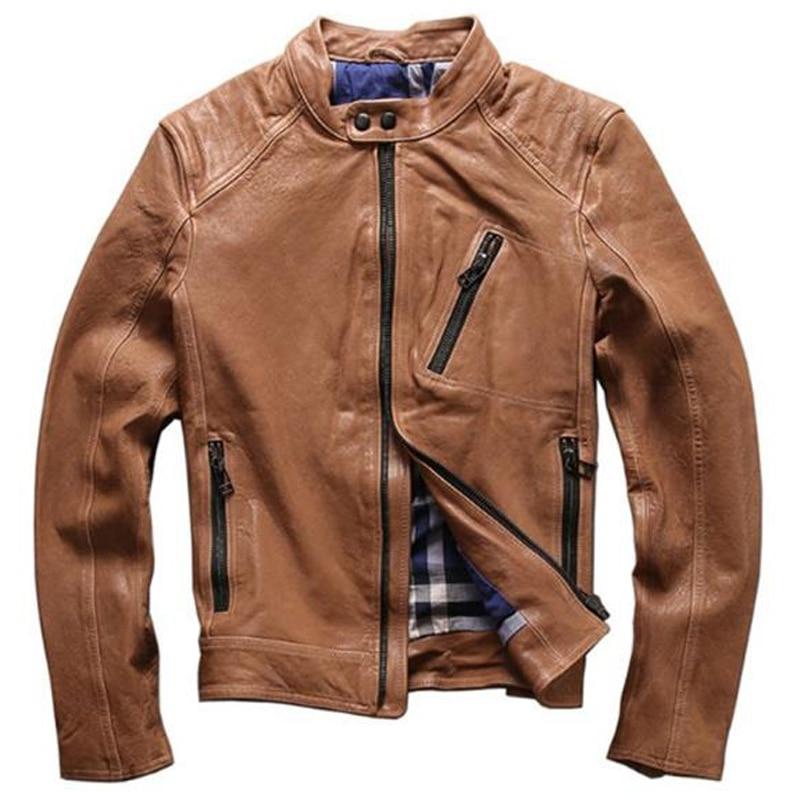 Chaqueta de piel de oveja automotriz, abrigos de cuero auténtico para motorista para hombre, abrigos de piloto de marca Simple europea, ropa para hombre A593