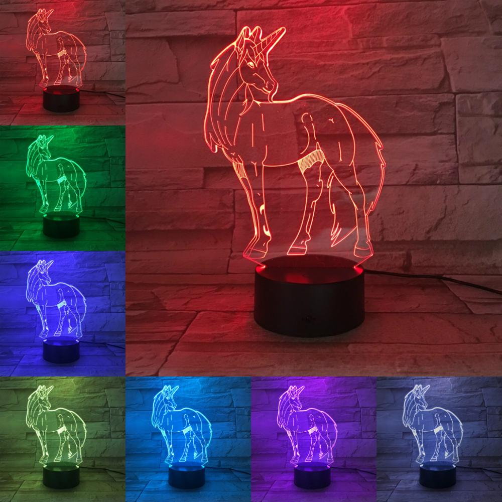 Animal Horse Unicorn 3D Lamp Illusion Children's Night Light LED Bulb Multicolor Children's Gift Kid Toy AA Battery Touch Base