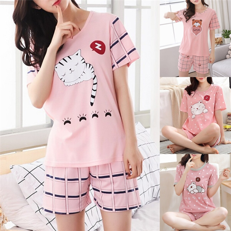 Girls Cute Short Sleeve Cotton Pajamas Sets For Women Nightshirt Casual Home Short Sleepwear Women Sets
