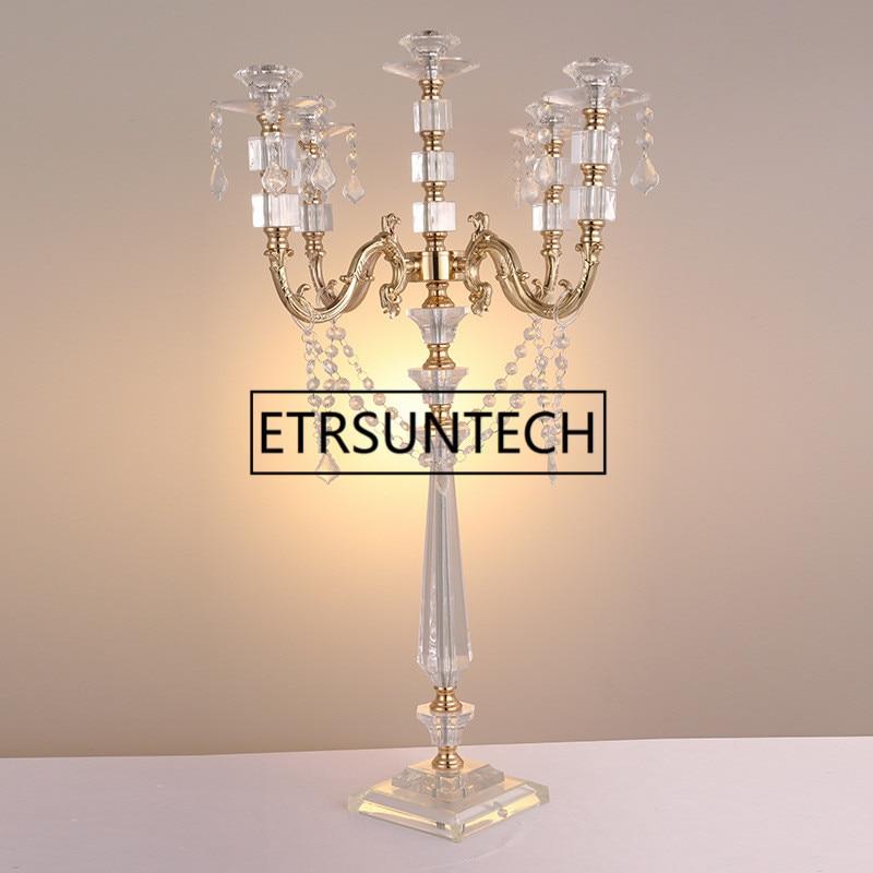 "5 candelabros de acrílico unids/lote, candelabros de 5 brazos con colgantes de cristal, 77 CM/30 ""de altura, centro de mesa de boda elegante"