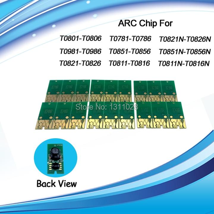 Tinta forma T0781-T0786 T0771-T0776 Compatible reset auto chip arco para Epson Artisan 50 R260 R380 R280 RX580 RX680 RX595... 5 SETS