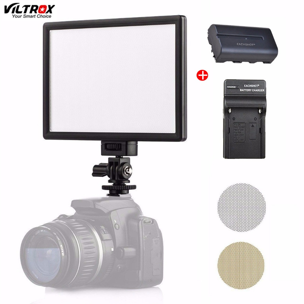 Viltrox L116T, iluminación LED para Grabación de Vídeo de fotografía, luz de día de Panel de pantalla LCD, foto de cámara DSLR DV, lámpara de estudio con batería