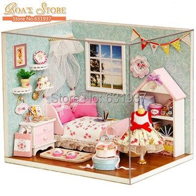 2015 Новый Diy деревянный кукольный домик Миниатюрные кукольные домики миниатюрные 3D Пазлы для детей наборы игрушечных моделей игрушки подаро...