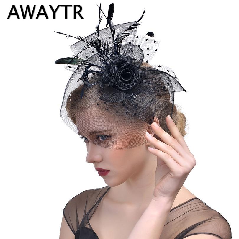 Sombrero de mujer Clips AWAYTR elegante pluma tocado Clip fiesta boda velo de rejilla 2018 accesorios para el cabello