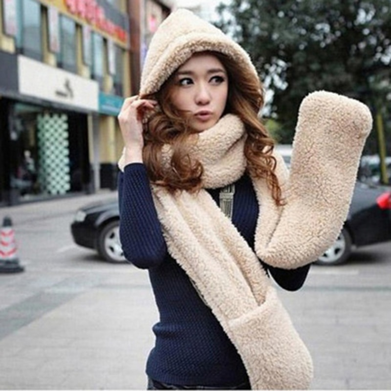 New Fashion Hooded Scarf Hat Glove Hot Sale 3 Piece Sets Women Winter Warm Soft Hood Scarf Snood Pocket Hats Gloves