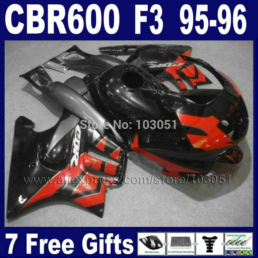 De kits de carenados para motocicleta 1995 CBR600 F3 1996 CBR 600 F3 95 CBR600F 96 OEM Rojo Negro Honda kit de carenado + tapa del tanque
