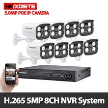 Kit POE 8ch 5 mp H.265   Système de vidéosurveillance de sécurité to16ch NVR pour lextérieur, caméra IP étanche, alarme de Surveillance vidéo P2P HKIXDISTE
