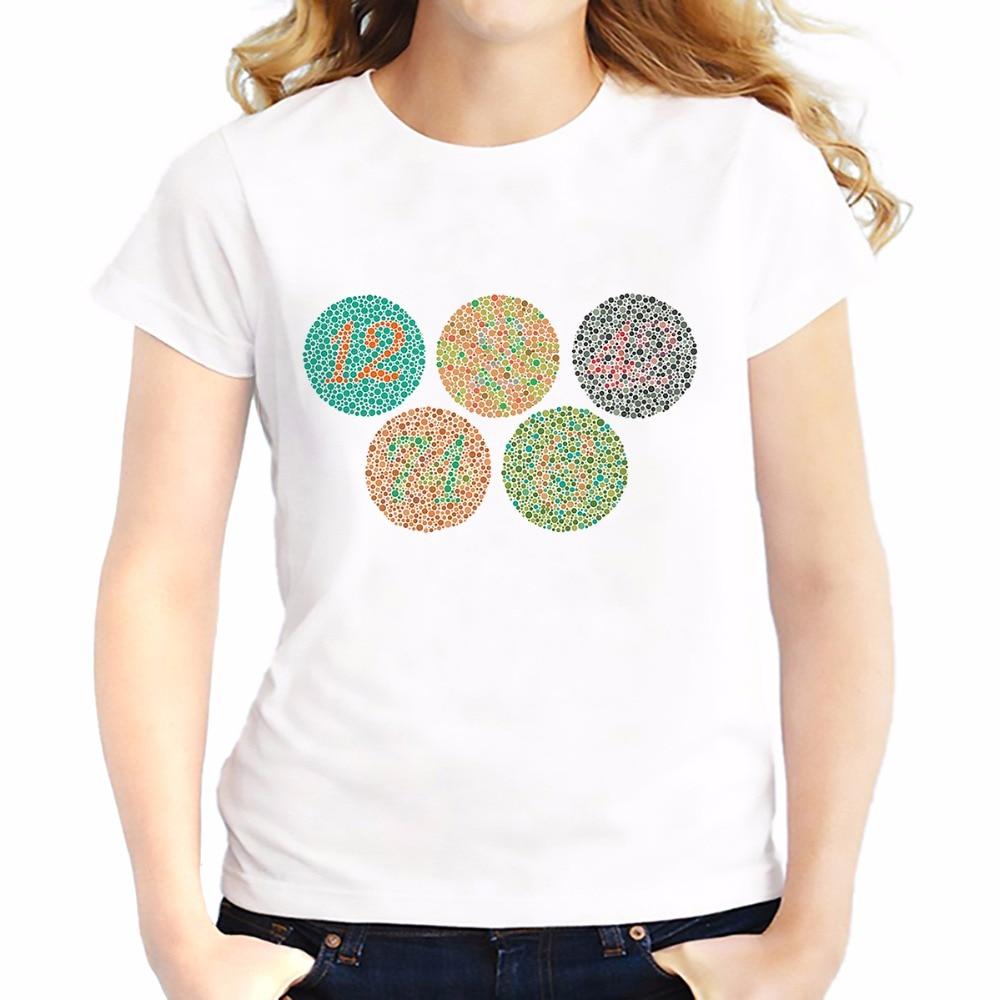 Цветные футболки с рисунком для проверки слепых женщин; летние топы; футболка; дышащая удобная футболка; футболки с короткими рукавами для д...