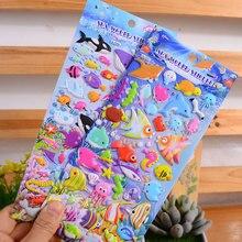 3D bonito Submarino mundo Animal Do Oceano Peixe peixes Marinhos Adesivos crianças Dos Desenhos Animados Adesivos Criativos Crianças etiquetas da recompensa