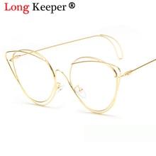 Lange Keeper 2018 Nieuwe Vintage Cat Eye Zonnebril Vrouwen Goud metalen Eyewear UV400 Zonnebril Vrouwelijke Rode Snoep Kleur Cateye bril