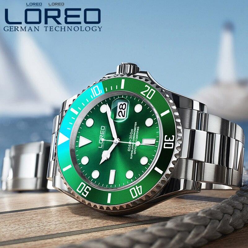 LOREO الكلاسيكية الأخضر الهاتفي الفاخرة الرجال ساعات أوتوماتيكية الفولاذ المقاوم للصدأ الياقوت 200 m للماء النورس حركة الميكانيكية ووتش