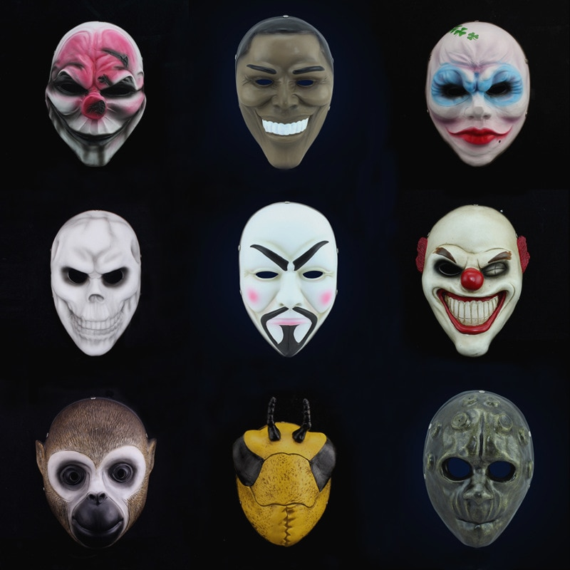Payday 2 máscara Dallas Hoxton cadenas Lobo payaso Obama Vespula Anonymous Vendetta réplica Props para mascarada Cosplay disfraz