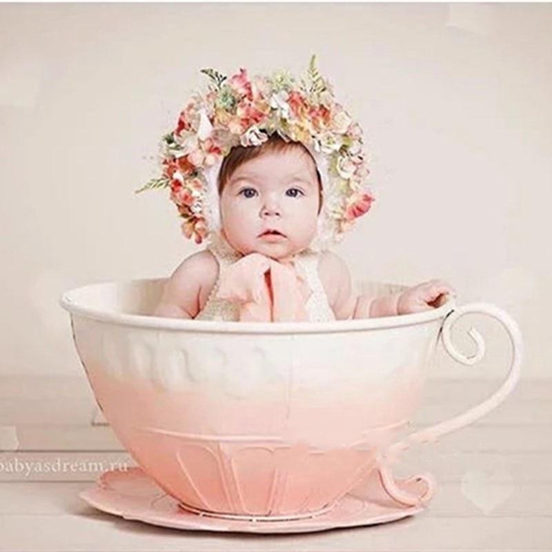 إكسسوارات التصوير الفوتوغرافي لحديثي الولادة ، سلة حديدية ، كوب شاي ، ملحقات استوديو التصوير ، دعائم صور إبداعية ، دش
