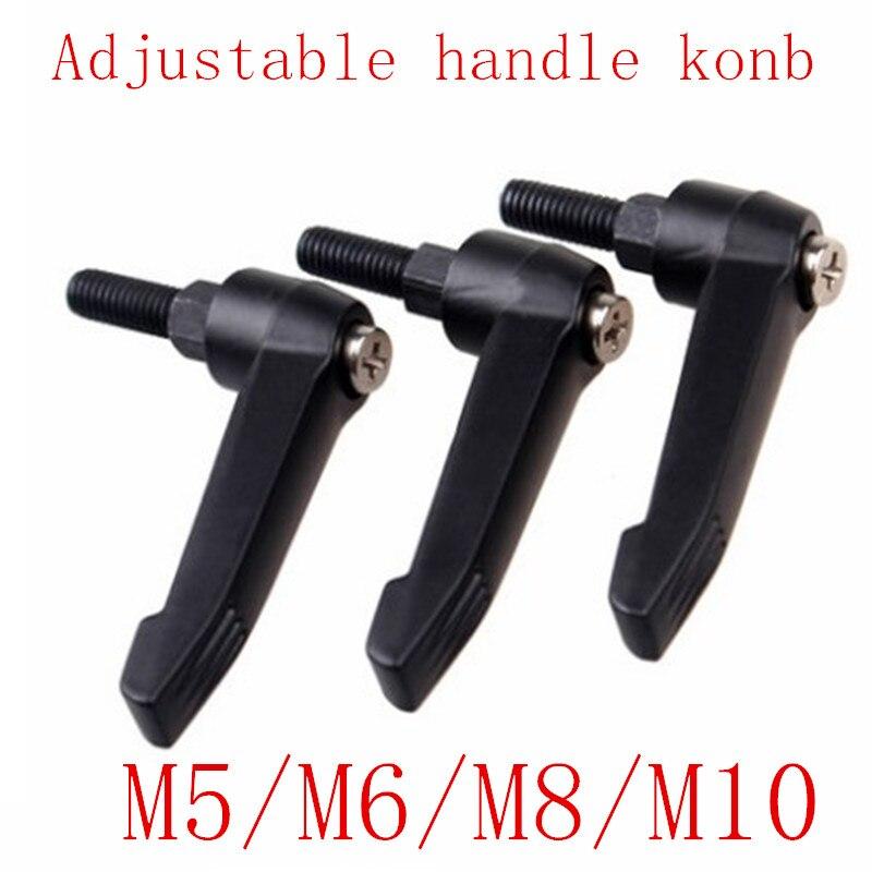 1 pçs/lote CNC Impressora 3D M5 M6 M8 M10 * L Preto Rosca Macho Botão de Aperto Punho Da Alavanca Ajustável