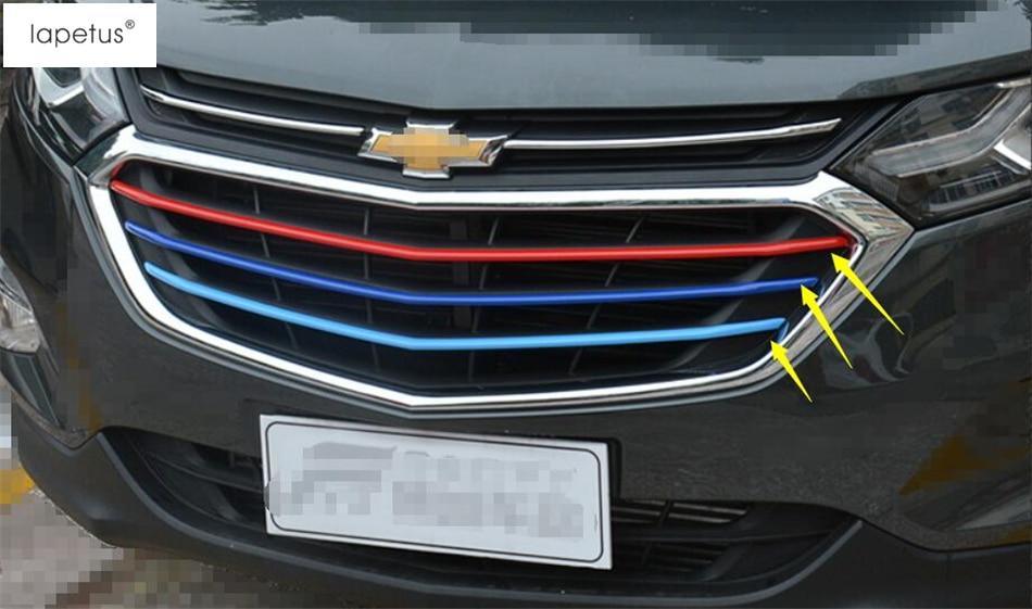 Lapetus accesorios para Chevrolet Equinox 2017 - 2020 Parrilla de cabeza delantera decoración tira moldura cubierta Kit Trim 3 uds