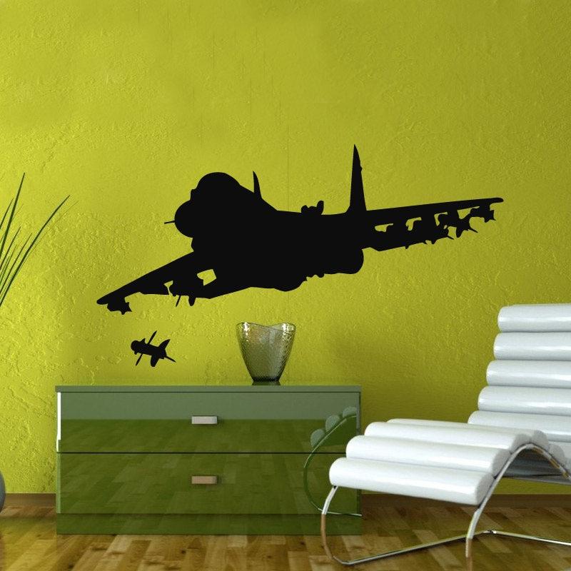 2018 novo real neymar militar design lutador disparando adesivos de parede decoração da sua casa vinil removível avião decalques crianças quarto m561