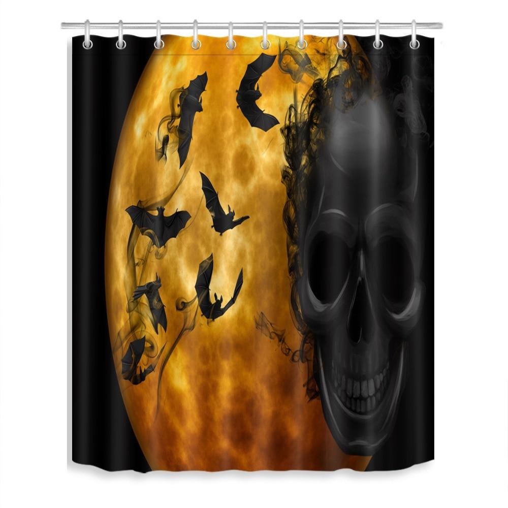 72 banho Tecido Impermeável Cortina de Chuveiro de Poliéster 12 Ganchos Acessório Do Banho Conjuntos de Halloween Bat Crânio Preto Sorriu Lua Ouro