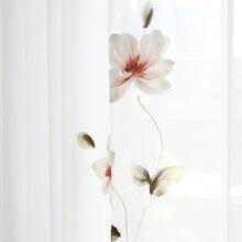Chicité peint à la main lotus Tulle rideaux pour salon doux France peinture style tulle pour chambre et cuisine personnalisé