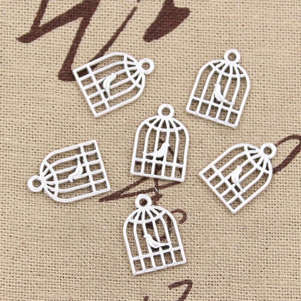 100 piezas de dijes de pájaros jaula 16x11mm colgantes chapados en plata antigua haciendo joyas de plata tibetana hechas a mano