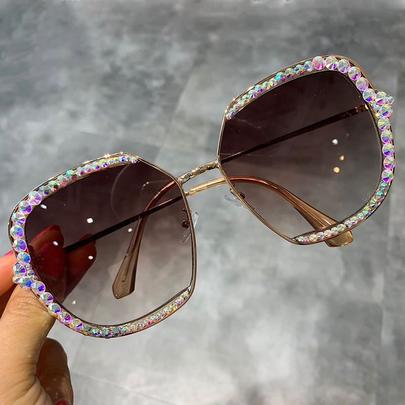 Женские и мужские солнцезащитные очки с квадратными прозрачными линзами, большие Винтажные Солнцезащитные очки, стразы, 2019