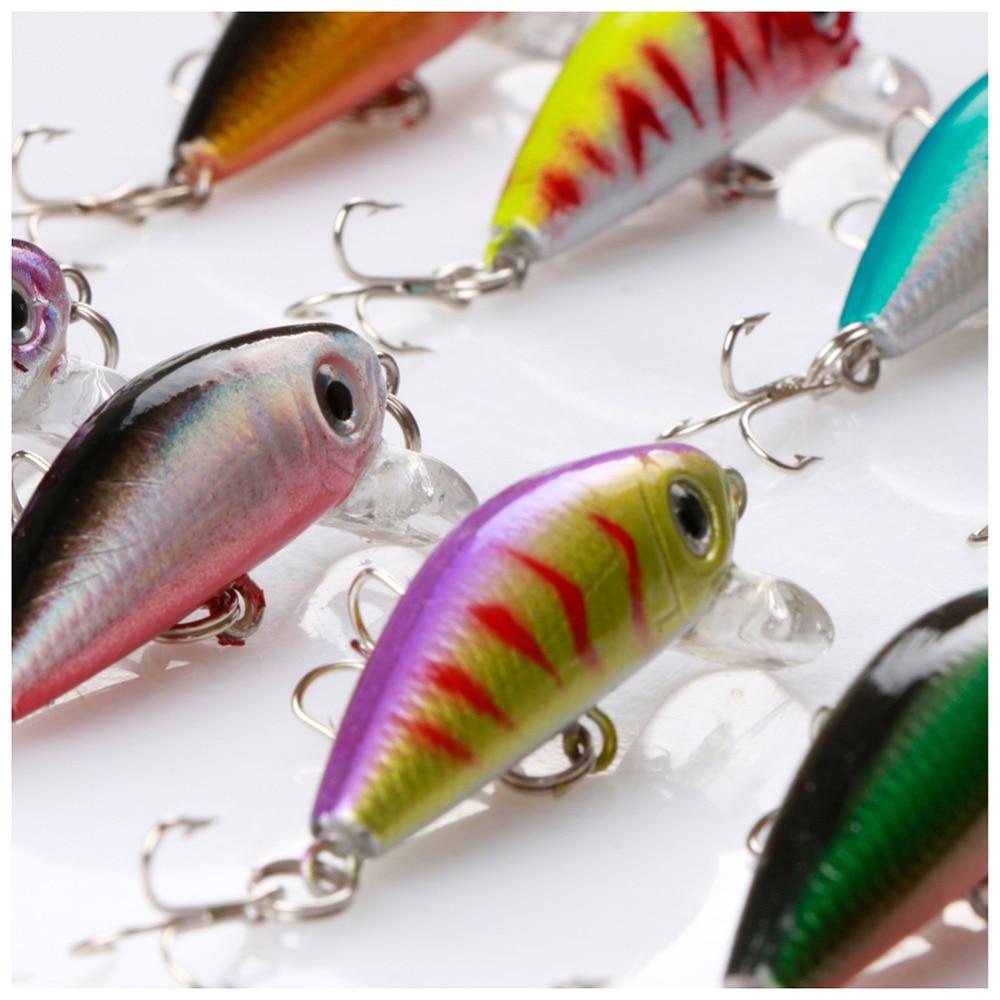 10pcs/set  Minnow Fishing Lures 3D Eyes 4cm/3g Hard Baits Artificial with Treble Hooks Fishing Tackle de Pesca enlarge