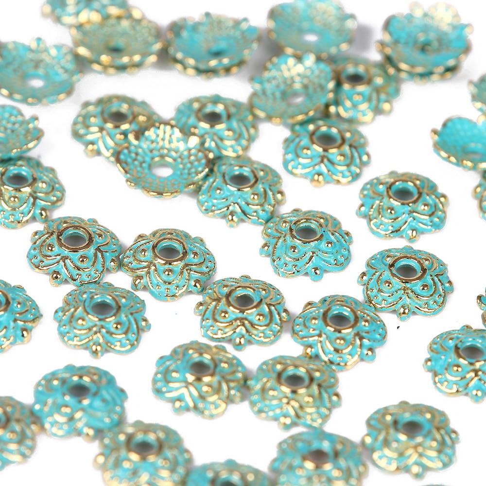 Jewelry diy 60pcs alloy Vintage Bronze Verdigris flower spacer Beads EU Charms Pendant Bracelet necklace earrings Findings