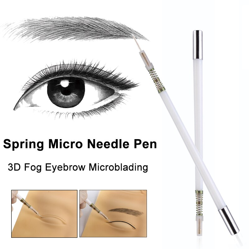 Primavera lápiz Manual Del Tatuaje Micro hoja Porta agujas Mini ceja difuminada sombreadora 3D indoloro permanente maquillaje Tebori Munsu