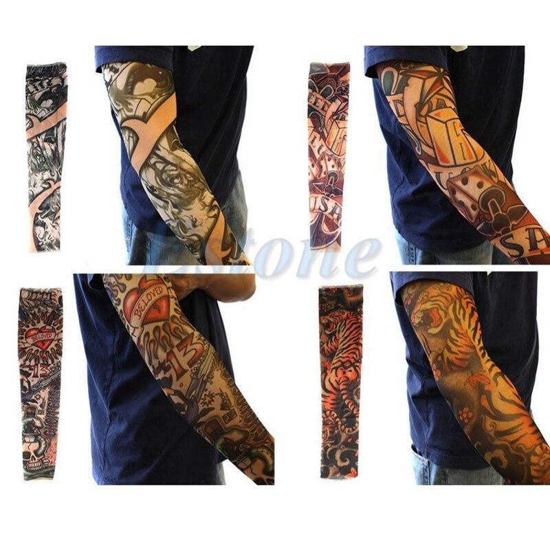 10 pçs unissex feminino men falso temporária festa tatuagem deslizamento em mangas corpo arte braço cobre meias
